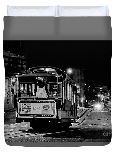 Cable Car At Night - San Francisco Duvet Cover