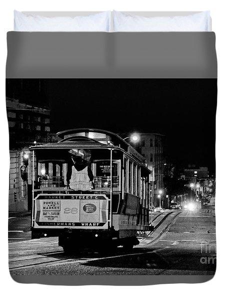 Cable Car At Night - San Francisco Duvet Cover