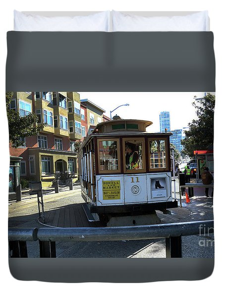 Duvet Cover featuring the photograph Cable Car Turnaround by Steven Spak