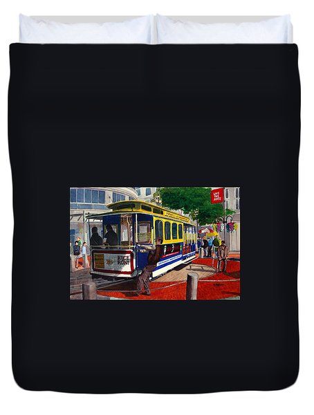 Cable Car Turntable At Powell And Market Sts. Duvet Cover