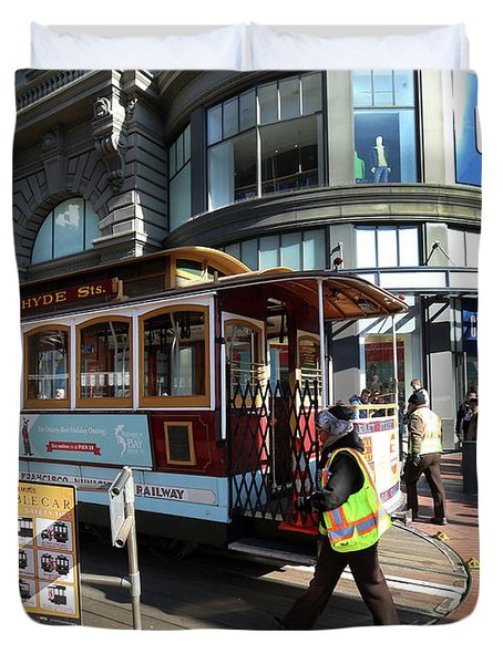 Duvet Cover featuring the photograph Cable Car Union Square Stop by Steven Spak