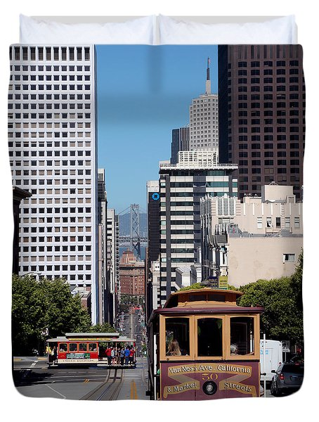 Cable Cars Crossing In San Francisco Duvet Cover by Wernher Krutein