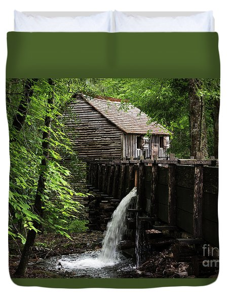 Duvet Cover featuring the photograph Cable Grist Mill by Andrea Silies