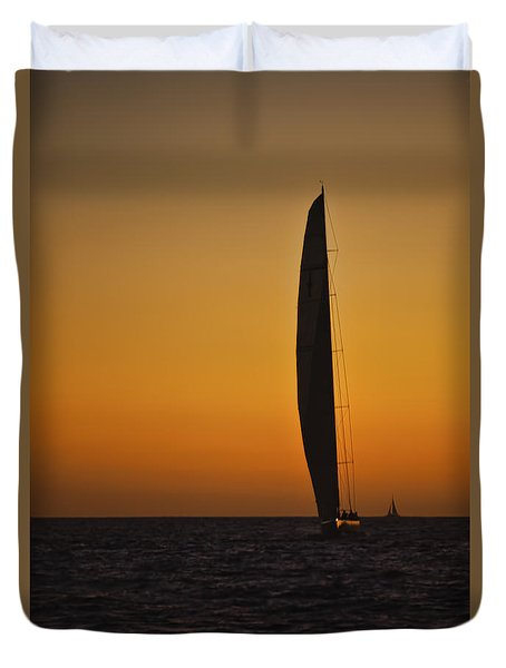 Cabo Sailboat Sunset Duvet Cover