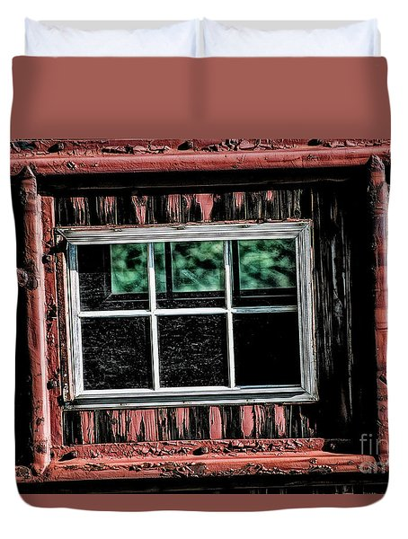 Duvet Cover featuring the photograph Caboose Window by Brad Allen Fine Art
