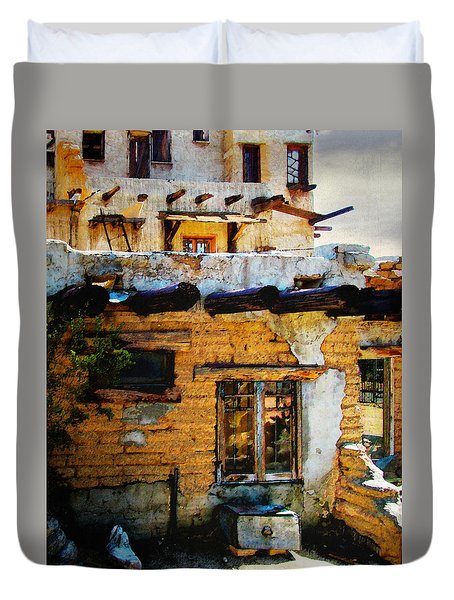 Duvet Cover featuring the photograph Cabot Yerxa Adobe 3 by Timothy Bulone