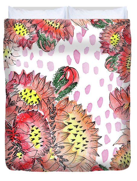 Cacti Flowers Duvet Cover