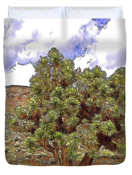 Duvet Cover featuring the photograph Cactis Tree by Nancy Marie Ricketts