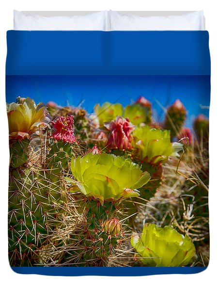 Duvet Cover featuring the digital art Cactus At The End Of The Road by Bartz Johnson
