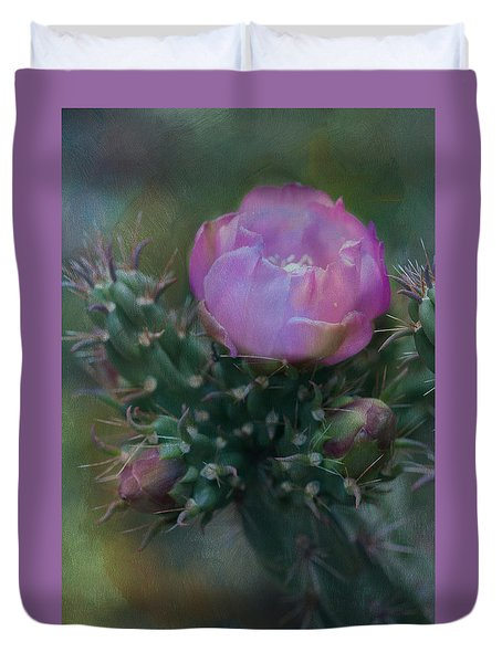 Cactus Bloom Duvet Cover by Carolyn Dalessandro