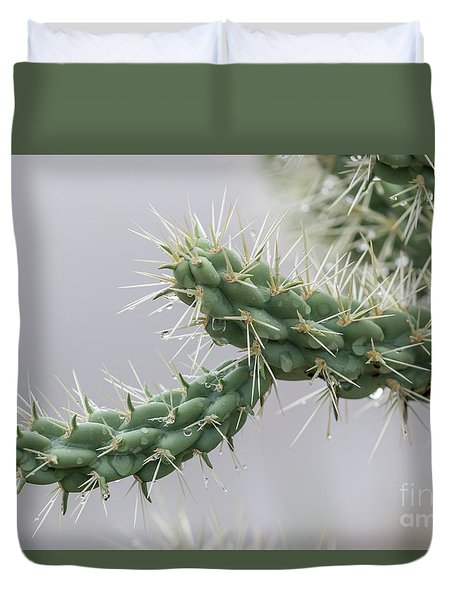 Cactus Branch With Wet White Long Needles Duvet Cover