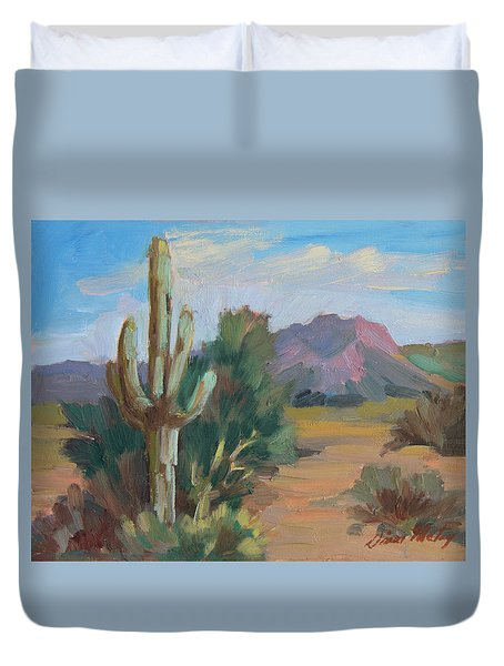 Duvet Cover featuring the painting Cactus By The Red Mountains by Diane McClary