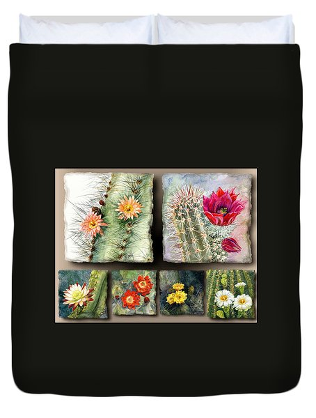 Duvet Cover featuring the painting Cactus Collage 10 by Marilyn Smith