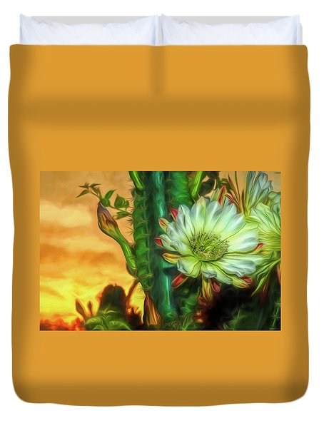 Cactus Flower At Sunrise Duvet Cover