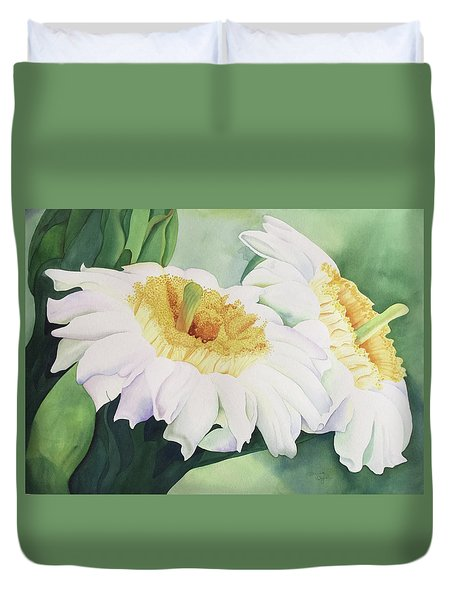 Duvet Cover featuring the painting Cactus Flower by Teresa Beyer