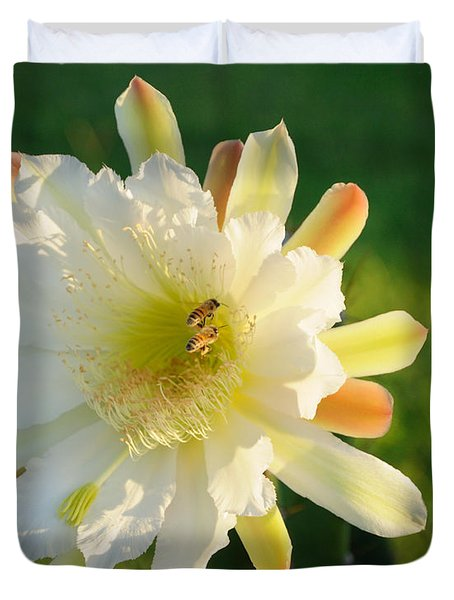 Cactus Flower With Bees Duvet Cover