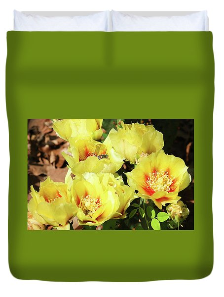 Duvet Cover featuring the photograph Cactus Flowers And Friend by Sheila Brown