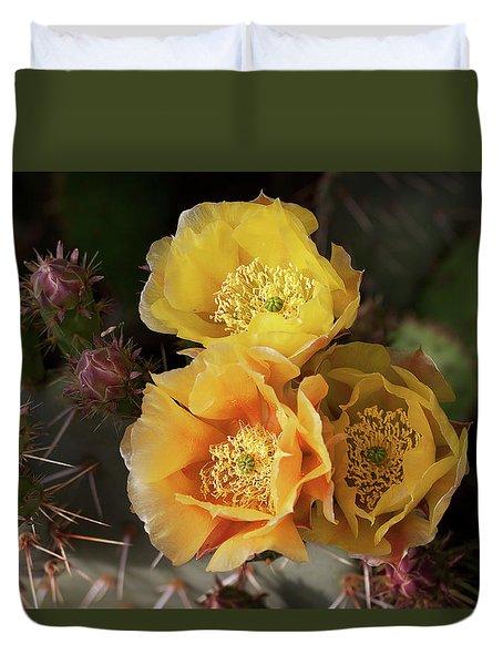 Yellow Cactus Flowers Duvet Cover
