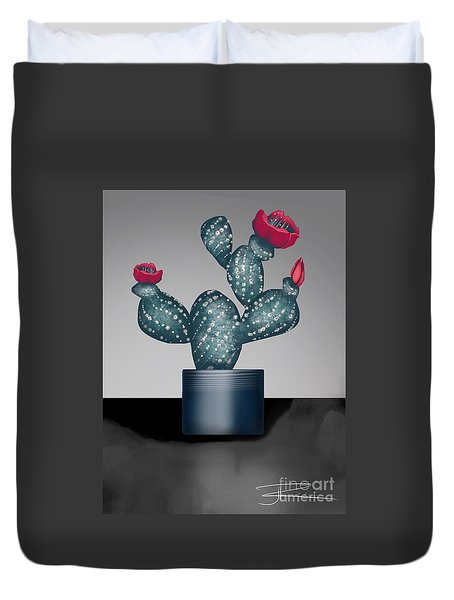 Cactus In Bloom II Duvet Cover