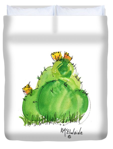 Cactus In The Yellow Flower Watercolor Painting By Kmcelwaine Duvet Cover