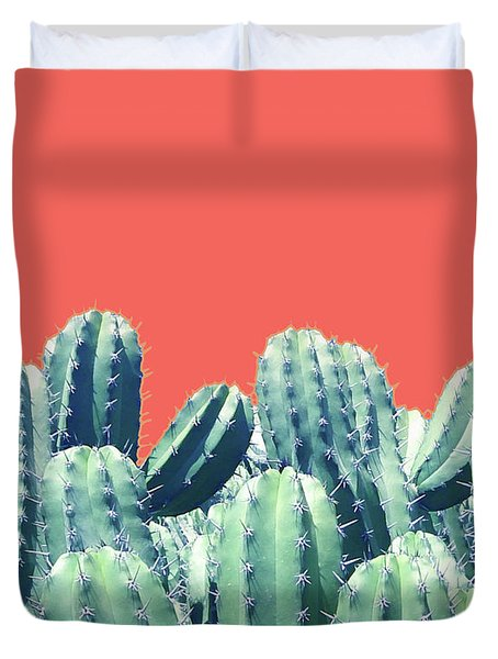 Cactus On Coral Duvet Cover