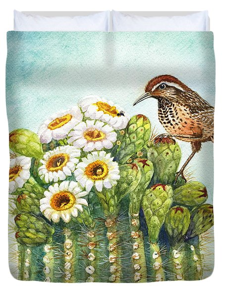 Duvet Cover featuring the painting Cactus Wren And Saguaro by Marilyn Smith