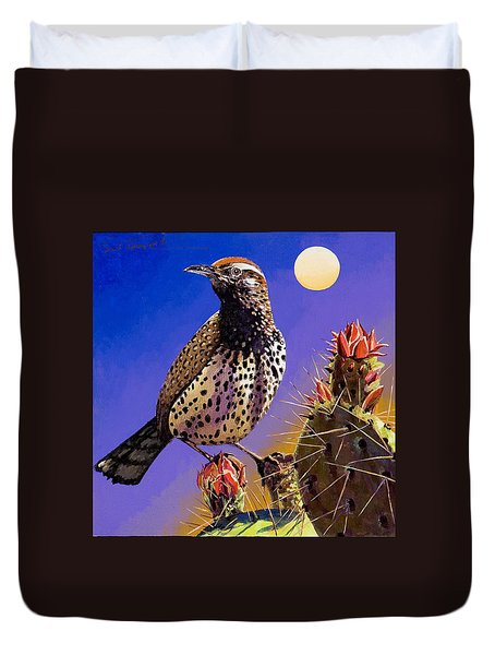 Duvet Cover featuring the painting Cactus Wren by Bob Coonts