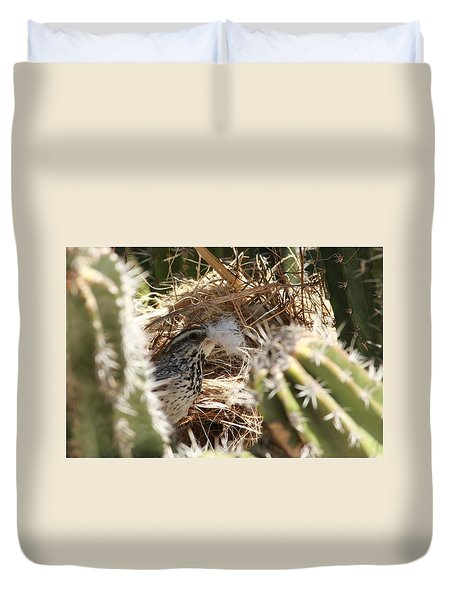 Cactus Wren Feather Duvet Cover