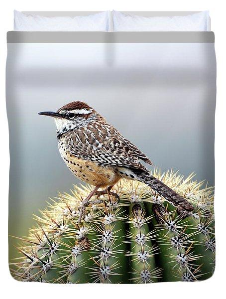 Cactus Wren On Saguaro Duvet Cover