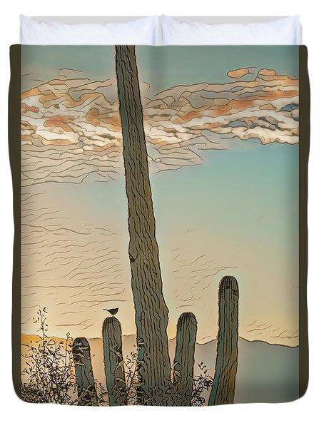Cactus Wren Serenade Duvet Cover