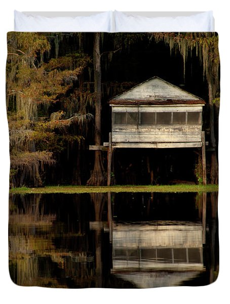 Caddo Lake Boathouse Duvet Cover