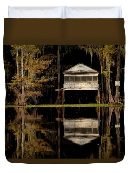 Caddo Lake Boathouse Duvet Cover