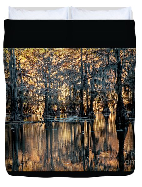 Caddo Lake Sunrise Duvet Cover by Iris Greenwell