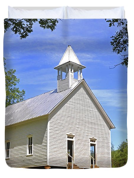 Cades Cove Methodist Church Duvet Cover