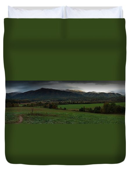 Cades Cove Panoramic Duvet Cover