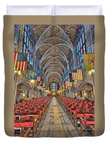 Duvet Cover featuring the photograph Cadet Chapel Remix by Dan McManus