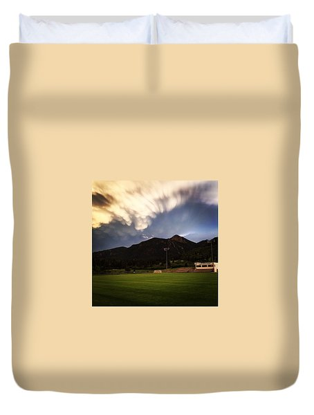 Duvet Cover featuring the photograph Cadet Soccer Stadium by Christin Brodie
