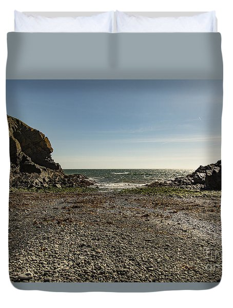 Duvet Cover featuring the photograph Cadgwith Cove Beach by Brian Roscorla