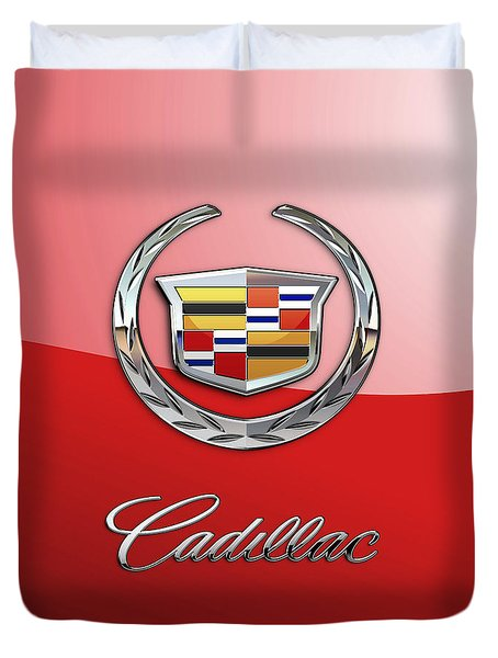 Cadillac - 3 D Badge On Red Duvet Cover