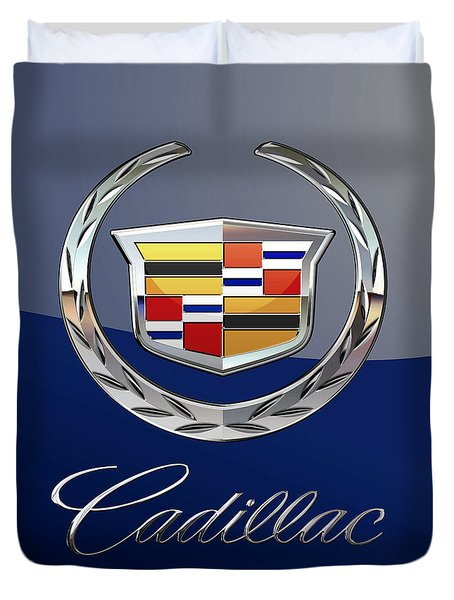 Cadillac 3 D  Badge Special Edition On Blue Duvet Cover