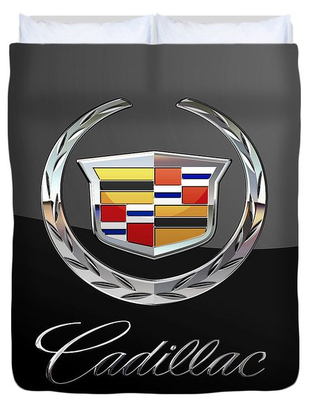 Cadillac - 3 D Badge On Black Duvet Cover by Serge Averbukh