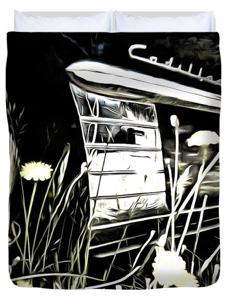 Cadillac And Dandelions Duvet Cover
