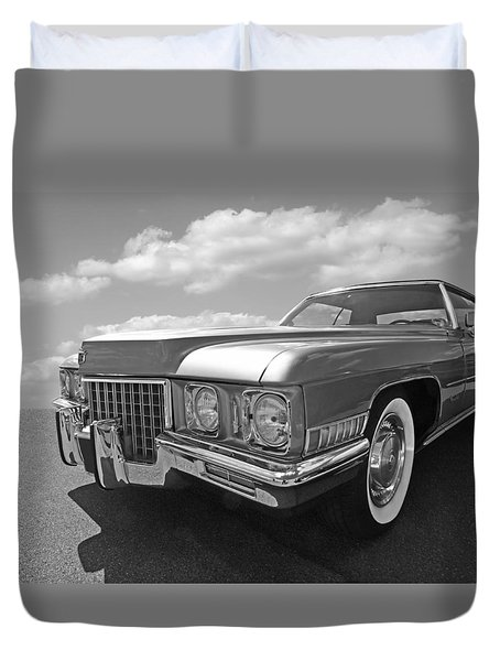 Cadillac Coupe De Ville 1971 In Black And White Duvet Cover