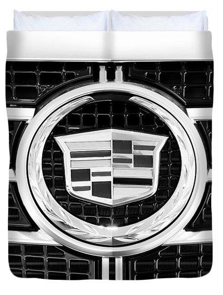 Cadillac Emblem Front Bw Duvet Cover