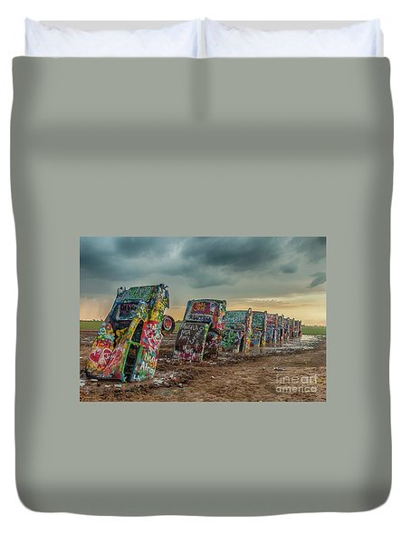 Cadillac Ranch Before The Rain Duvet Cover