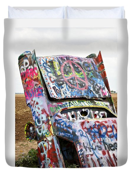 Cadillac Ranch Duvet Cover by Marilyn Hunt