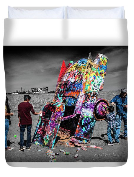 Duvet Cover featuring the photograph Cadillac Ranch Spray Paint Fun Along Historic Route 66 By Amarillo Texas by Randall Nyhof