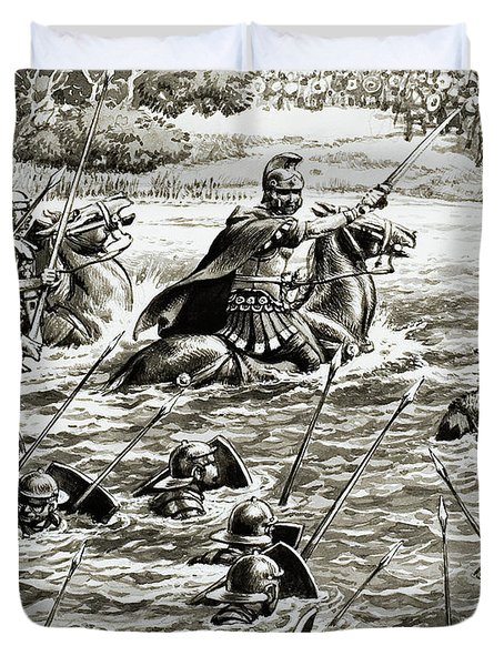 Caesar's Legions Crossing The Thames Duvet Cover