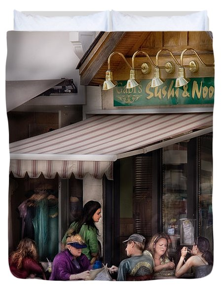 Cafe - Westfield Nj - Gabi's Sushi And Noodles Duvet Cover by Mike Savad