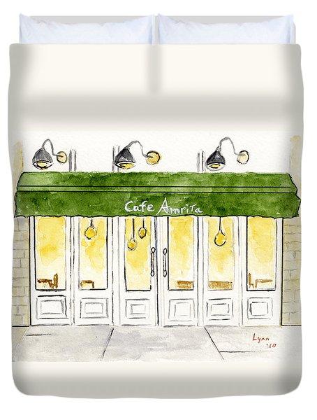 Cafe' Amrita  Duvet Cover by AFineLyne